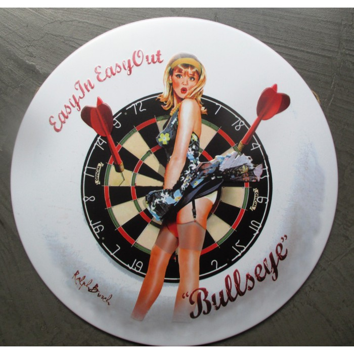 plaque pin up  et cible flechette  bulls eye tole ronde30cm  deco us