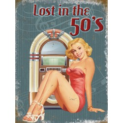 plaque pin up robe rouge et jukebox style vurlitzer lost in the 50's tole deco sexy affiche métal