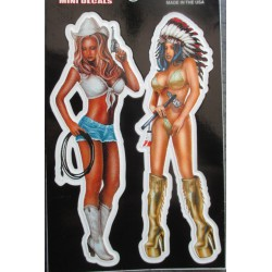 petit  sticker pin up cow girl et indienne sexy autocollant transparent