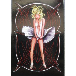petit sticker pin up marilyn monroe et pinstriping rouge autocollant transparent