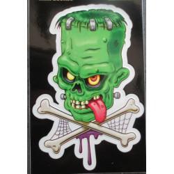 petit sticker monstre vert frankenstein et os croisé autocollant transparent