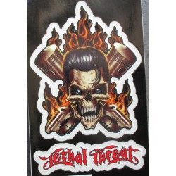 petit sticker crane elvis piston  flammes tete de mort autocollant transparent