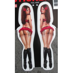 petit sticker pin up sexy avec sous vetements rouge  botte noireautocollant transparent