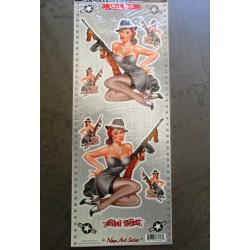 planche de 6 stickers pin up gangster style al capone feminin autocollant transparent