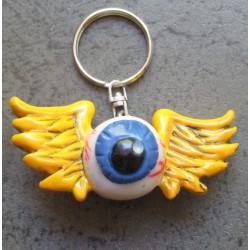 porte clé métal et resine fliyng eyeball oeil volant kustom auto voiture americaine