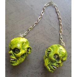 paire de crane zombie vert monstre tete de mort  resine  pour retroviseur