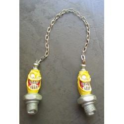 paire de bougie monstre en resine jaune et blanche pour retroviseur kustom hot rod