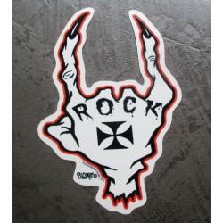 sticker  squellete de main inscription rock autocollant transparent