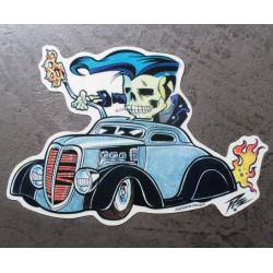 sticker squelette rocker et hot rod bleu et noir kustom kulture  autocollant transparent