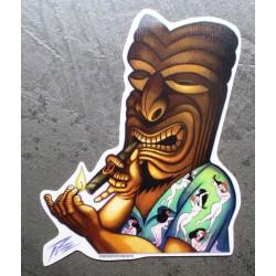 sticker tiki kahuna qui allume un cigare kustom kulture  autocollant transparent