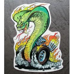 sticker serpent cobra avec des roues qui burn kustom kulture  autocollant transparent