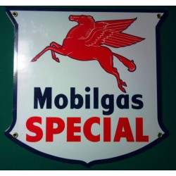 plaque emaillée blason mobigas  spécial deco garage tole email pub metal