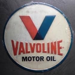 plaque valvoline ronde en relief emboutibidon huile relief deco garage