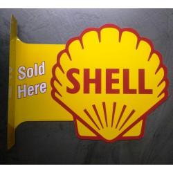 plaque shell 2 faces potence tole  huile  essence deco garage 44x33 cm