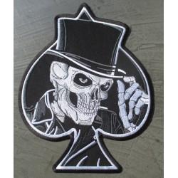 gros patch crane chapeau as pique noir 28x22 cm  ecusson dos veste blouson