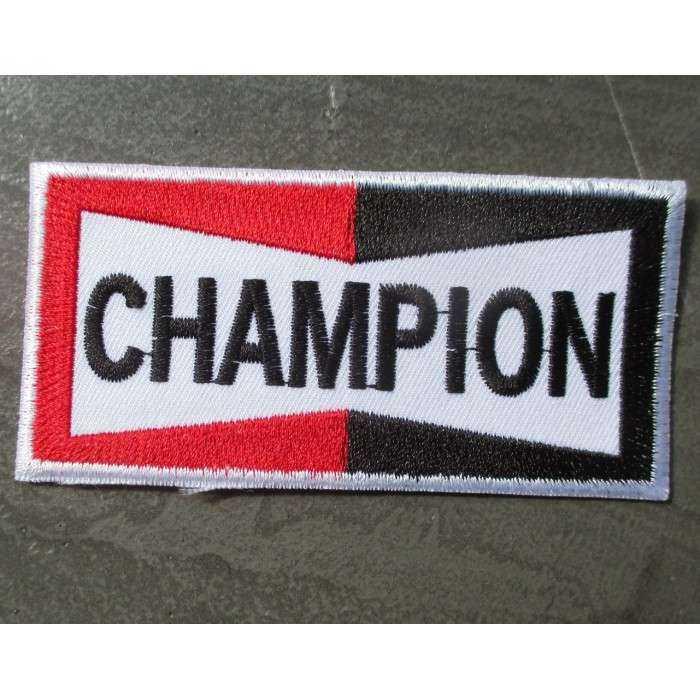 patch bougie champion spark plugs rectangulaire ecusson deco veste garage