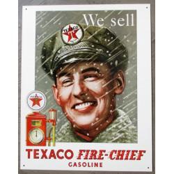 plaque texaco pompiste we sell fire chief tole deco garage usa loft