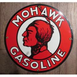 plaque emaillée mohawk gasoline 30cm tete indien rouge tole deco garage