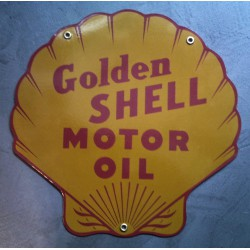 plaque emaillée shell  golden doré coquillage tole email huile essence