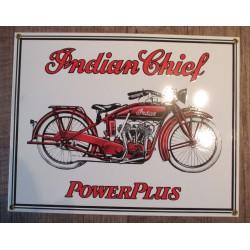 plaque emaillée indian chief  blanche moto motorcycle  tole deco garage