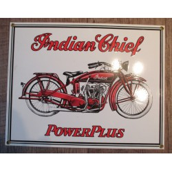 plaque emaillée indian chief  blanche moto motorcycle  tole deco garage