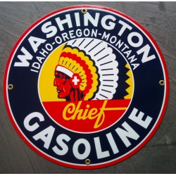plaque emaillée washington gasoline tete indien pub auto garage deco