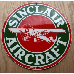 plaque emaillée sinclair aircraft  pub avion aviation garage deco