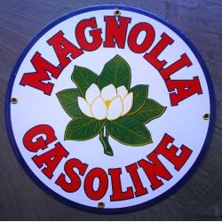 plaque emaillée magnolia gasoline fleur blanche huile essence pub auto moto  aviation garage deco