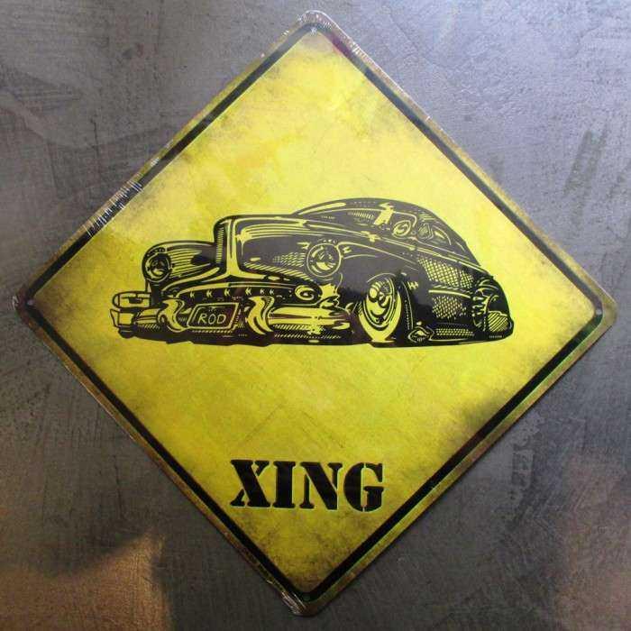 plaque deco jaune avec un hot rod kustom xing americain tole usa pub métal