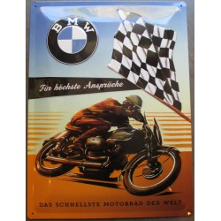 plaque moto bmw course drapeau a damier tole deco garage metal
