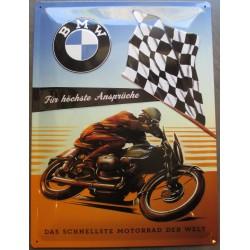 plaque moto bmw course drapeau a damier tole deco garage metal