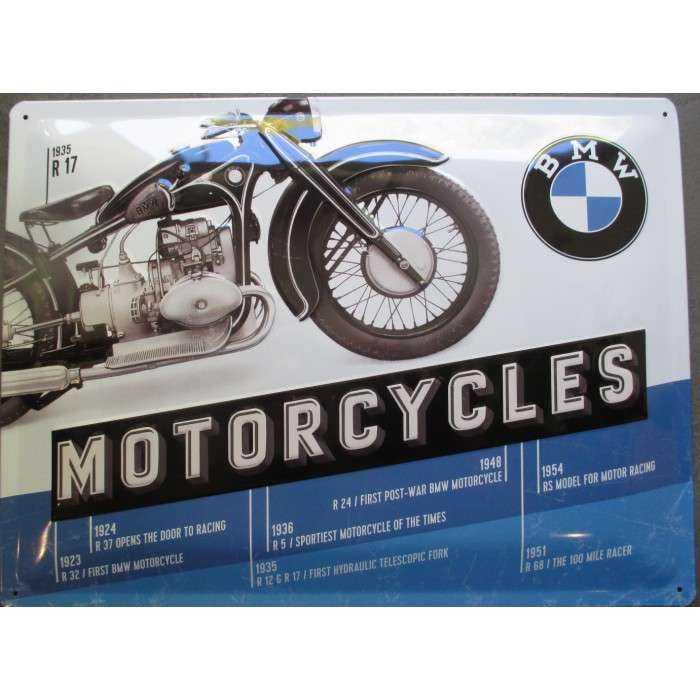 plaque moto bmw 1935 R17 motorcycle tole deco garage metal