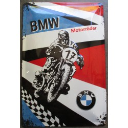 plaque moto bmw motorader course n°17  tole deco garage metal