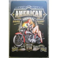 plaque pin up moto american since 1903 tole deco garage metal loft