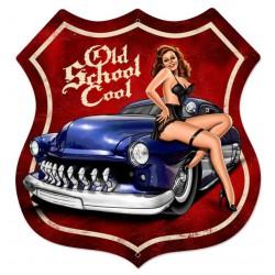 plaque tole  épaisse blason pin up old school cool pin up mercury bleu