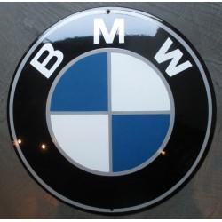 grosse plaque emaillee  logo bmw ronde bombée 40 cm tole deco garage