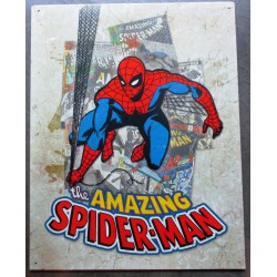 plaque super hero spiderman amazing sur fond beige clair affiche tole usa déco enfant