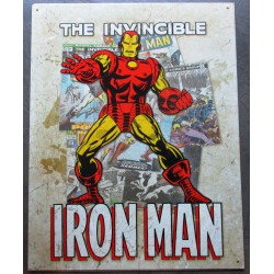 plaque super hero invincible iron man sur fond beige clair affiche tole usa déco enfant