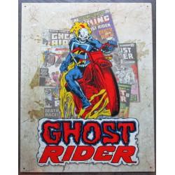 plaque super hero ighost rider moto flammes sur fond beige clair affiche tole usa déco enfant