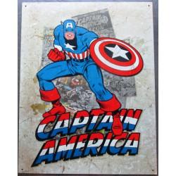 plaque super hero captain america et son bouclier sur fond beige clair affiche tole usa déco enfant