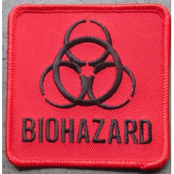 patch biohazar carré rouge 7.5x7.5 cm ecusson thermocollant usa