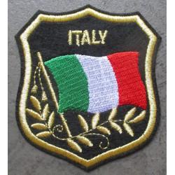 patch blason italie 8x7 cm ecusson thermocollant itlian drapeau biker