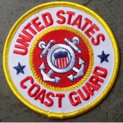 patch rond US coast guard guarde cote  7.5 cm ecusson thermocollant usa drapeau