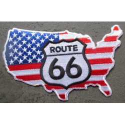 patch continent usa  route 66 12x8 cm ecusson thermocollant usa drapeau