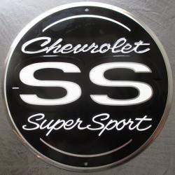 plaque chevrolet logo  noir ss super sport tole publicitaire metal usa chevy