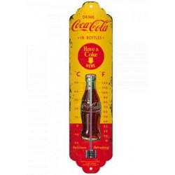 thermometre coca cola rouge et jaune aspect vieillit deco cuisine bar diner