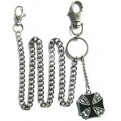 chaine de portefeuille croix malte noir cranes biker rock