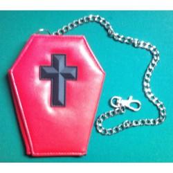 portefeuille cercueil croix rouge gothique punk trash femme