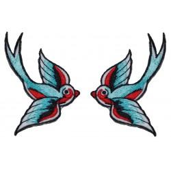 paire de patch hirondelle de couleur bleu noir rouge rockababilly pin up