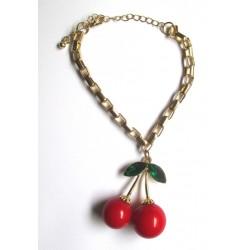bracelet boucle d'oreille cerise 3D 5.5x3.5 cm pinup rockabilly femme